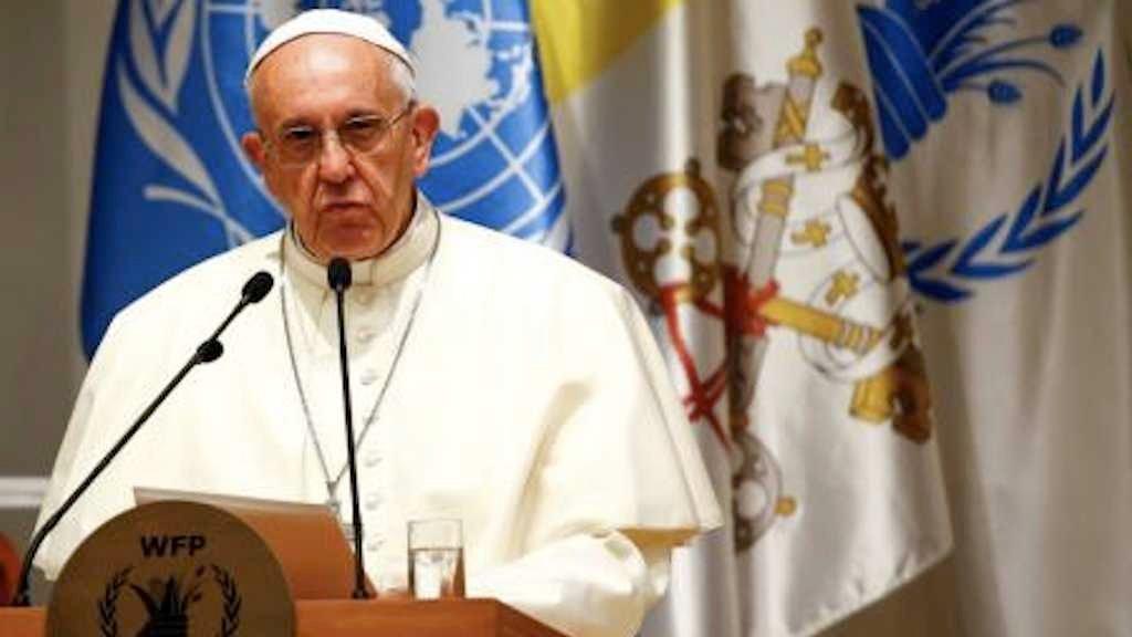 Papa Francisco durante discurso na sede do Programa Mundial de Alimentos, em Roma