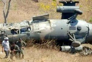 Toda a tripulação do helicóptero morreu na queda da aeronave