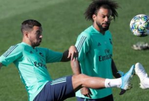 Hazard e Marcelo durante treinamento do Real Madrid