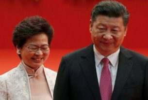 Líder do Executivo de Hong Kong, Carrie Lam, e presidente da China, Xi Jinping