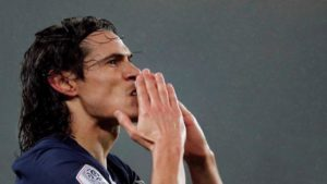 Edinson Cavani durante partida do Paris St Germain contra o Bordeaux