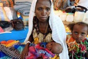 Refugiados etíopes do conflito em Tigré na região de fronteira entre Etiópia e Sudão