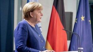 Chanceler federal alemã, Angela Merkel, no pronunciamento em que cumprimenta Biden
